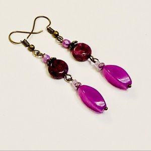 Purple Lepidolite & Fuchsia Agate Earrings